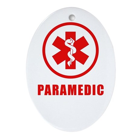 Paramedic on white Oval Ornament