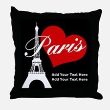 Custom add text Paris Throw Pillow