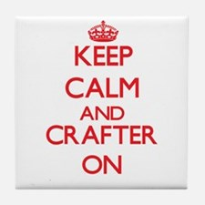 Keep Calm and Crafter ON Tile Coaster