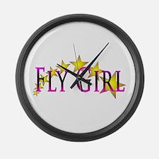 Flygirl Gold Star Large Wall Clock