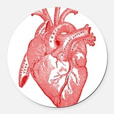 Anatomical Heart - Red Round Car Magnet