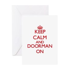Keep Calm and Doorman ON Greeting Cards