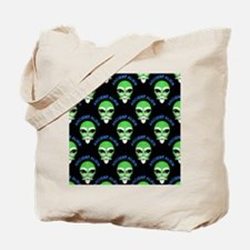 Ancient Alien Head Pattern Tote Bag