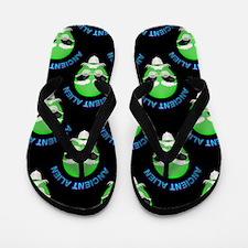 Ancient Alien Head Pattern Flip Flops