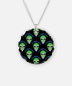 Ancient Alien Head Pattern Necklace Circle Charm