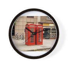 Cute English phone booth Wall Clock
