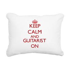 Keep Calm and Guitarist Rectangular Canvas Pillow