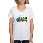 Grandpa's New Fishing Buddy Women's V-Neck T-Shirt