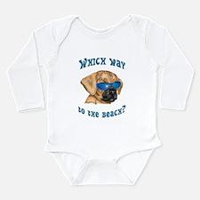 Funny Puggle art Long Sleeve Infant Bodysuit
