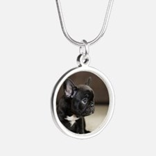Cute Frenchie Silver Round Necklace