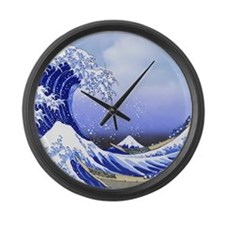 Hokusai Surf's Up! Great Wave Large Wall Clock
