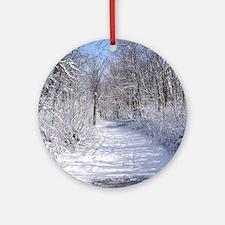 Snow Trail Scenery Ornament (Round)