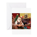 Santa / Yorkie (#9) Greeting Cards (Pk of 20)