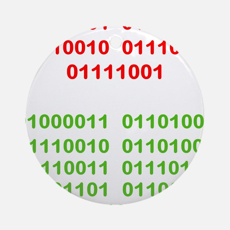 Merry Christmas in Binary Ornament (Round)