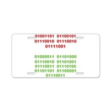 Merry Christmas in Binary Aluminum License Plate
