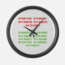 Merry Christmas in Binary Large Wall Clock