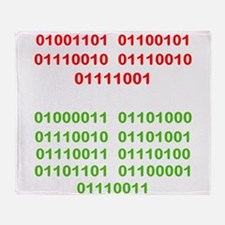 Merry Christmas in Binary Throw Blanket