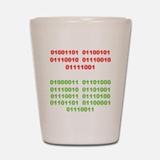 Merry Christmas in Binary Shot Glass