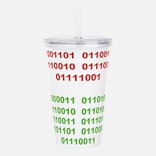 Merry Christmas in Binary Acrylic Double-wall Tumb
