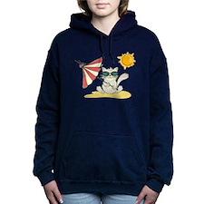 Cool Beach Cat with Umbr Women's Hooded Sweatshirt