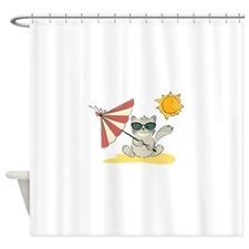 Cool Beach Cat with Umbrella and Su Shower Curtain