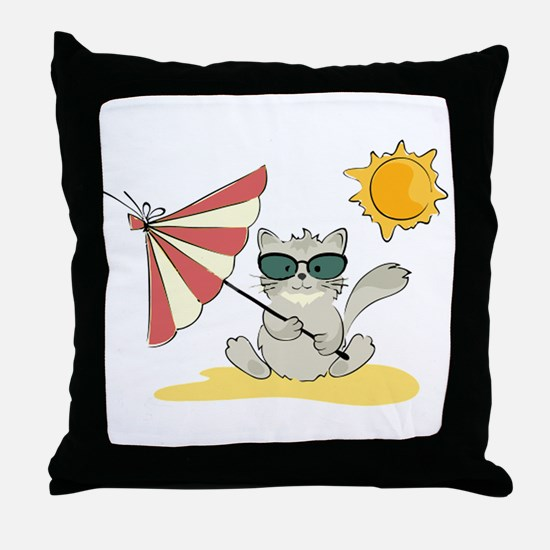 Cool Beach Cat with Umbrella and Sung Throw Pillow