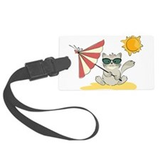 Cool Beach Cat with Umbrella and Luggage Tag