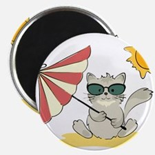 Cool Beach Cat with Umbrella and Sunglasse Magnets