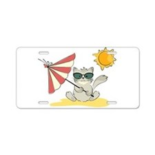 Cool Beach Cat with Umbrell Aluminum License Plate