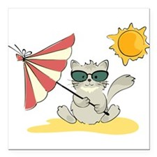 "Cool Beach Cat with Umbr Square Car Magnet 3"" x 3"""