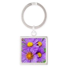 New England Aster Wildflowers Keychains