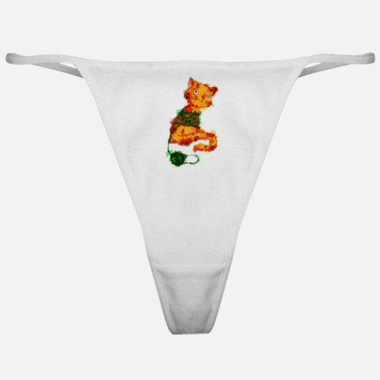 Kitty Tangled in Yarn Marker Sketch Classic Thong
