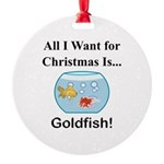 Christmas Goldfish Round Ornament