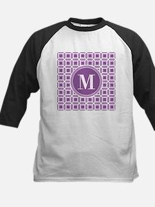 Purple and White Mosaic Pattern Monogram Baseball