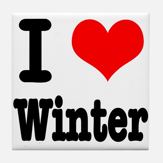 I Heart (Love) Winter Tile Coaster