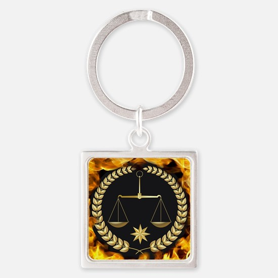Flaming Justice Square Keychain