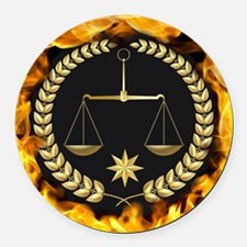 Flaming Justice Round Car Magnet