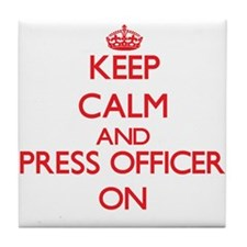 Keep Calm and Press Officer ON Tile Coaster