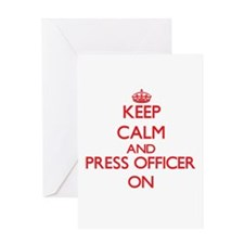 Keep Calm and Press Officer ON Greeting Cards