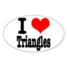 I Heart (Love) Triangles Oval Decal