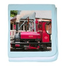 Red Steam train engine locomotive, Wa baby blanket