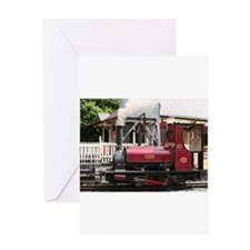 Red Steam train engine locomotive, Greeting Cards