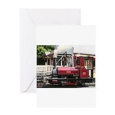 Red Steam train engine locomotive, Greeting Cards
