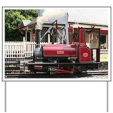 Red Steam train engine locomotive, Wales Yard Sign