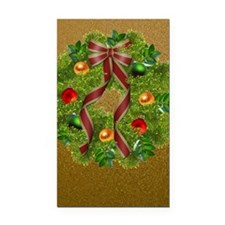 Wreath on Gold Rectangle Car Magnet