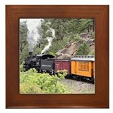 Train in forest Framed Tiles