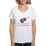 Stradivarius Violin Humor Women's V-Neck T-Shirt