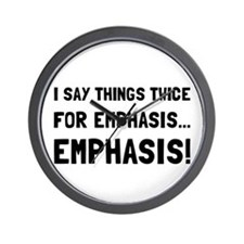 Twice For Emphasis Wall Clock