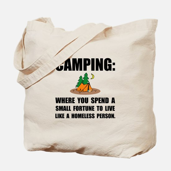 Camping Homeless Tote Bag