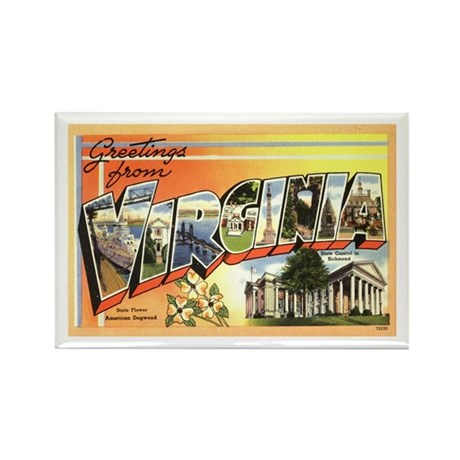 Greetings from Virginia Rectangle Magnet (100 pack